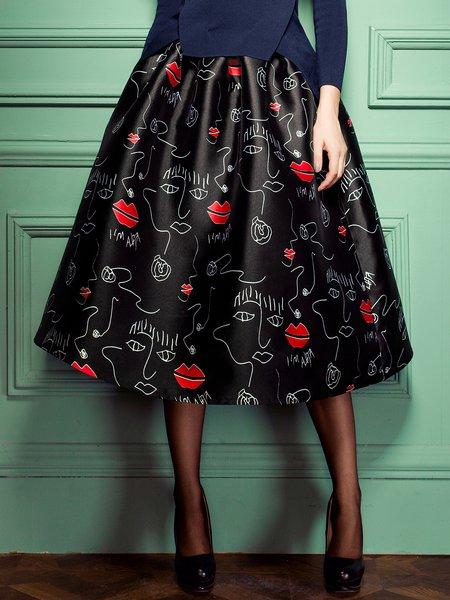 Black Skater Girly Polyester Graphic Midi Skirt
