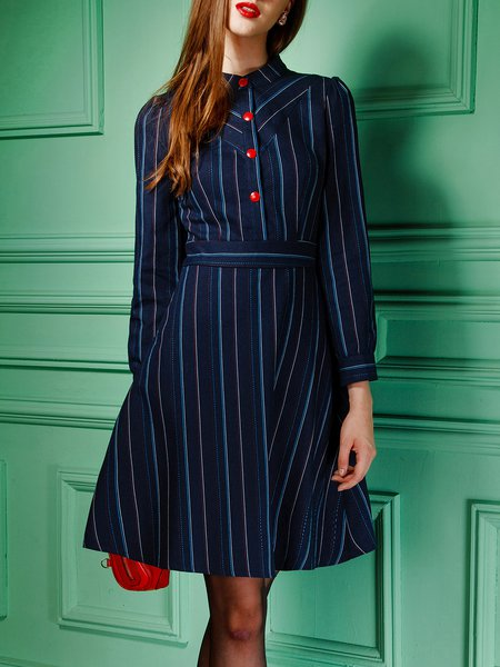 Blue Stripes Buttoned A-line Elegant Midi Dress
