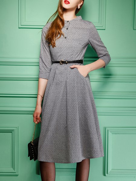 Printed Pockets 3/4 Sleeve Graphic A-line Midi Dress With Belt