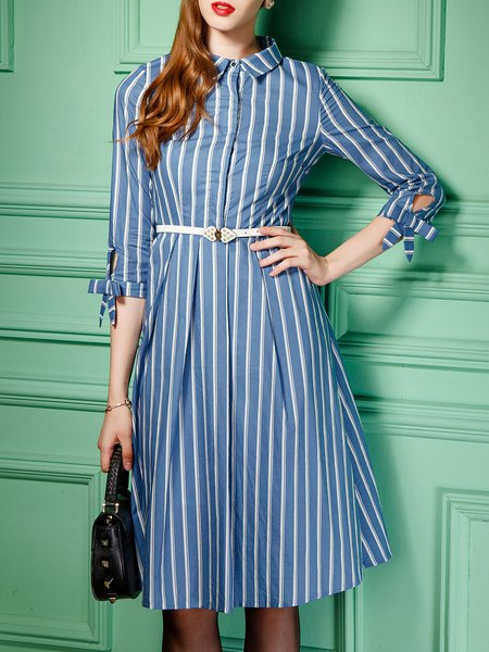 Cotton Stripes Zipper Girly 3/4 Sleeve Midi Dress With Belt