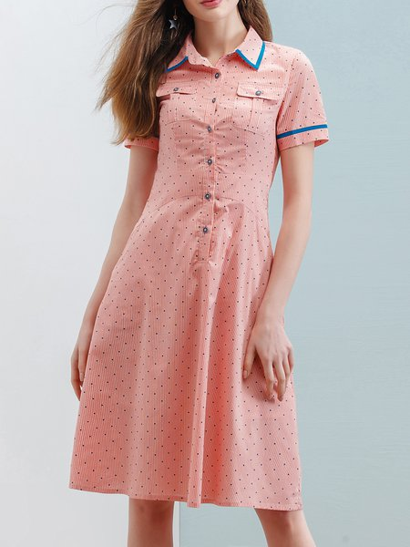 Pink Polka Dots A-line Short Sleeve Midi Dress