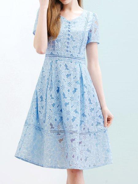 Girly A-line Cotton Short Sleeve Boho Dress