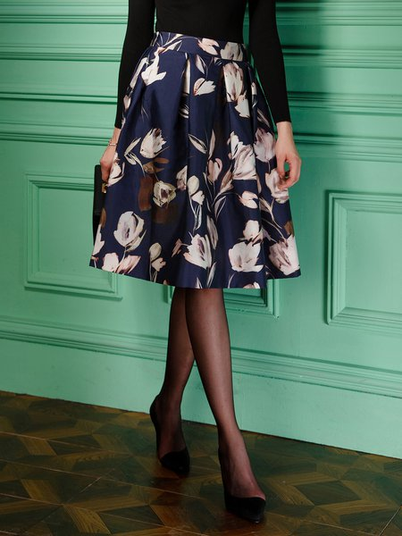 Multicolor Zipper Floral Elegant Midi Skirt