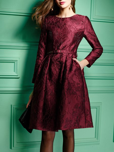 Burgundy Jacquard A-line Long Sleeve Party Dress