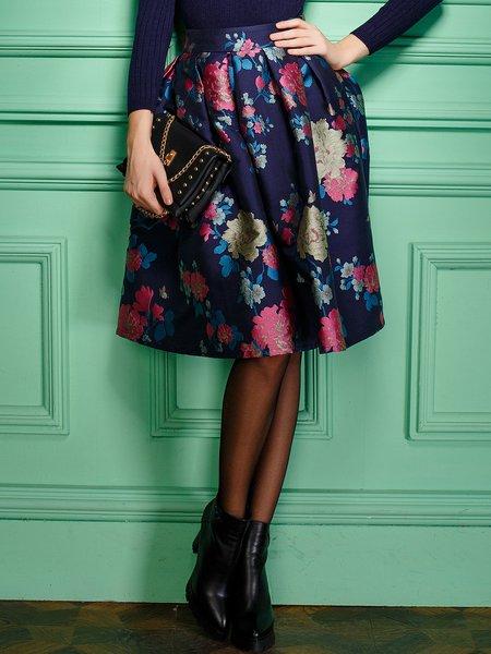 Multicolor Vintage Floral Print Folds A-line Midi Skirt
