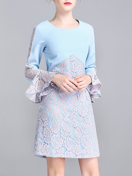 Light Blue A-line Girly Crew Neck Guipure Lace Dress