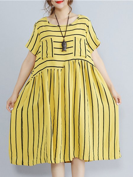 Shift Short Sleeve Crew Neck Stripes Linen Dress