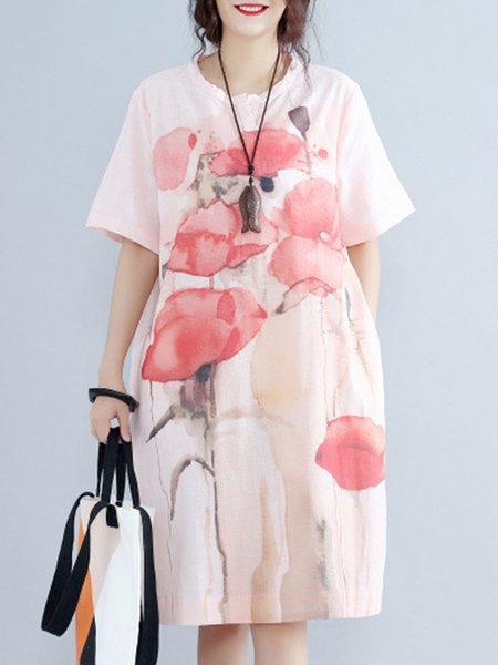 Half Sleeve Casual Shift Crew Neck Floral-print Linen Dress