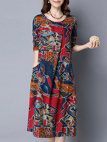 Crew Neck Printed Long Sleeve Casual Linen Dress