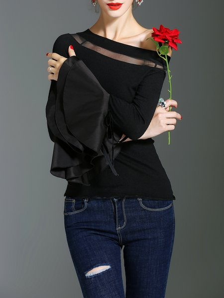 Black Solid Bell Sleeve Long Sleeved Casual Bateau/boat neck Bow Paneled Top