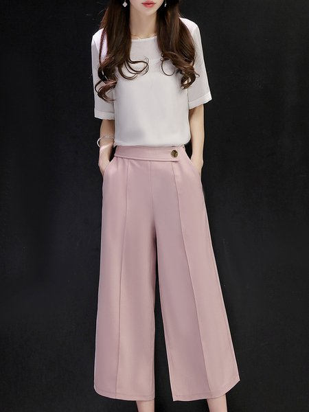 Solid Short Sleeve Elegant Jumpsuit