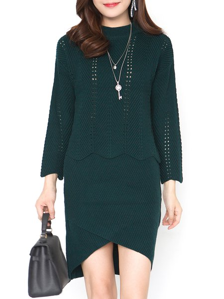 Knitted Eyelet Long Sleeve Elegant Top With Skirt