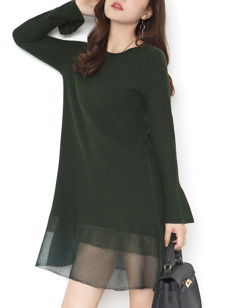Solid Wool Blend Elegant A-line Sweater Dress