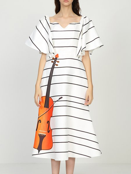 White Cotton-blend Stripes A-line Statement Shirt Dress