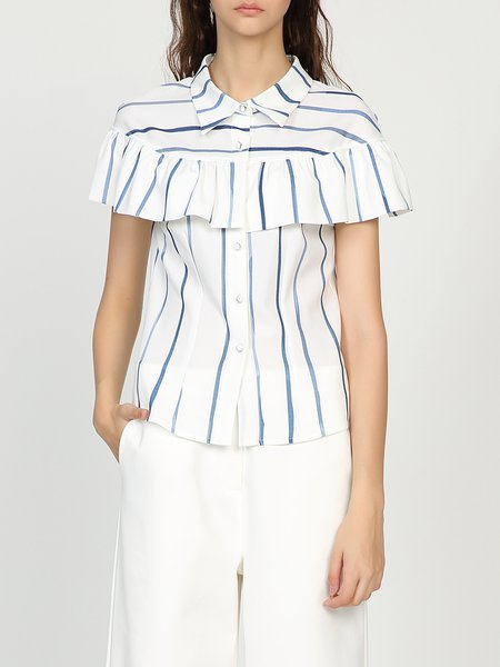 White Shirt Collar Casual Ruffled Stripes Blouse
