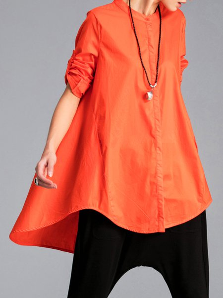 Solid Pockets Long Sleeve Asymmetrical Casual Tunic