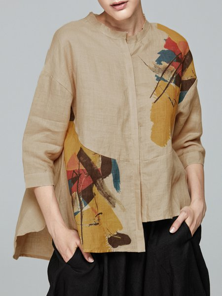 Abstract Printed Asymmetric Simple Blouse