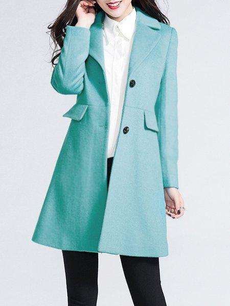 Plus Size Light Blue Wool blend Plain Elegant Buttoned Coat