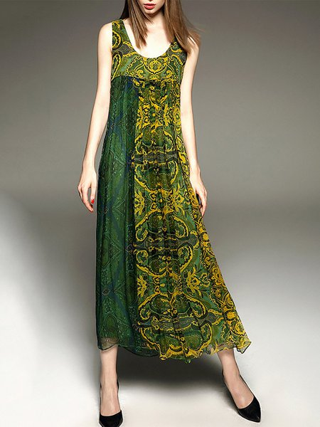Green Swing Silk Printed Boho Maxi Dress