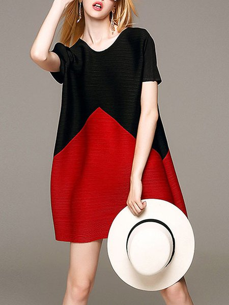 Black Color-block Crew Neck Casual Mini Dress