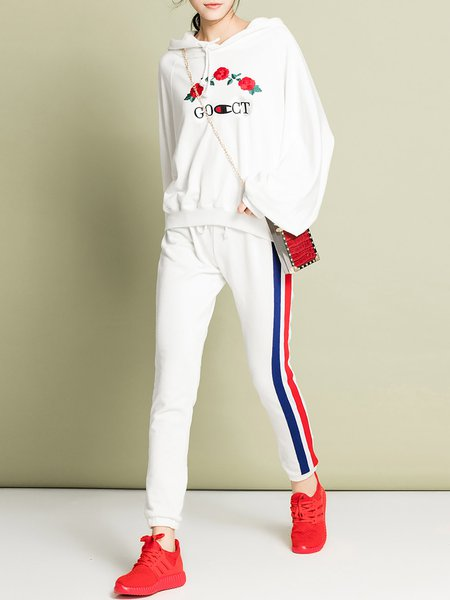 Floral-embroidered Color-block Hoodie Two Piece Long Sleeve Casual Cotton Jumpsuit
