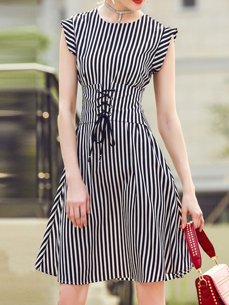 Black Stripes Polyester Sleeveless A-line Midi Dress