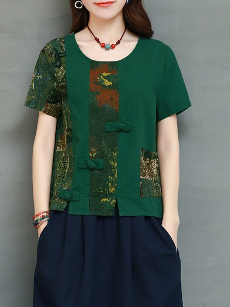 Green Vintage Style Crew Neck H-line Paneled T-Shirt