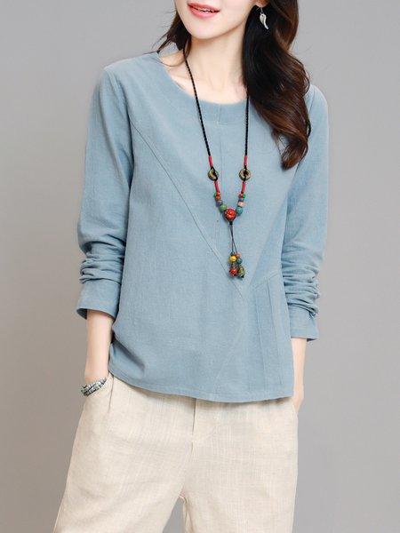 Simple H-line Cotton-blend Long Sleeve Crew Neck T-Shirt