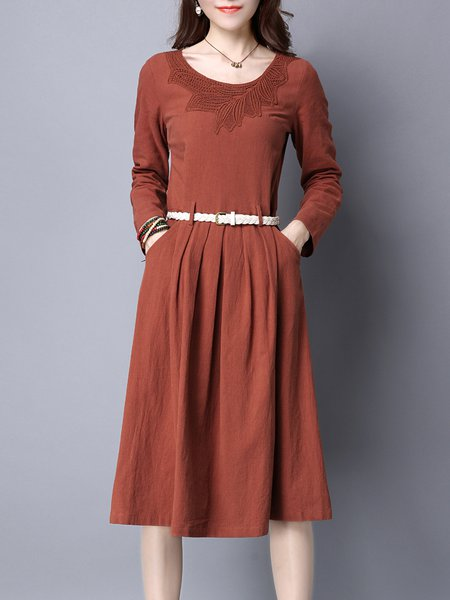 Rust Crocheted Paneled Casual A-line Crew Neck Midi Dress with Belt