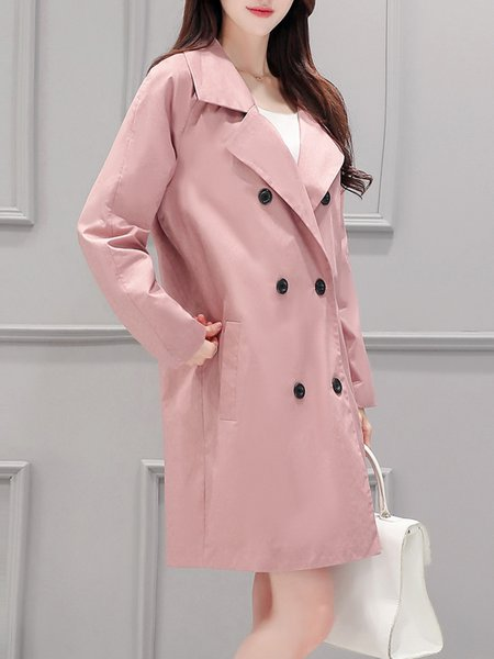 Buttoned Solid Long Sleeve Cotton Elegant Trench Coat