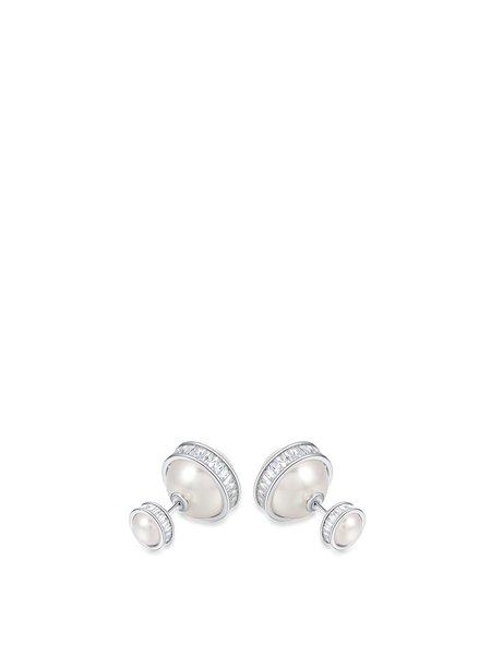 Silver Alloy Imitation Pearl Geometry Earrings