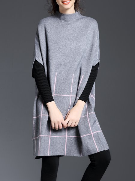 Turtleneck Casual Batwing Checkered/Plaid Sweater Dress