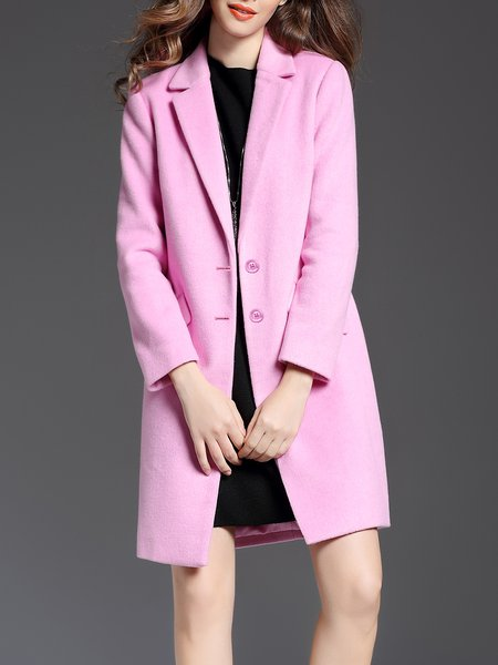 Pink Wool Blend Solid Lapel Long Sleeve Coat