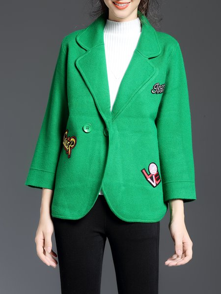Green Embroidered Lapel Casual Cropped Jacket