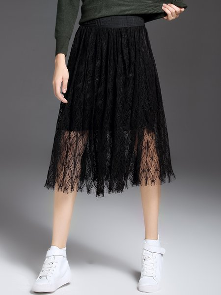 Black Crocheted Pierced Casual A-line Midi Skirt
