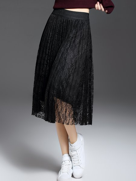 Black Casual Pierced Crocheted Lace Midi Skirt