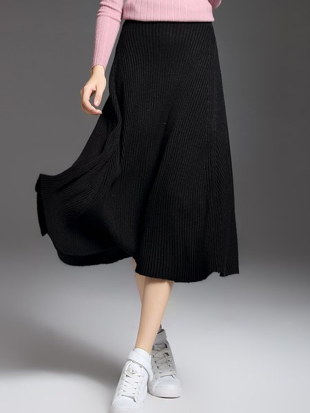 Ribbed Knitted Casual Midi Skirt