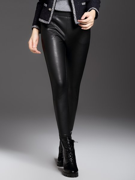 Black Casual Plain Pockets Leggings