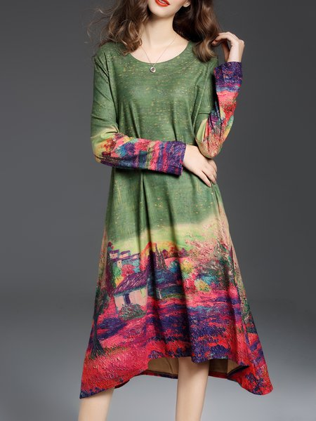 Green Shift Casual Crew Neck Printed Midi Dress