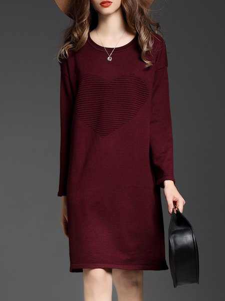Casual Knitted Long Sleeve Sweater Dress