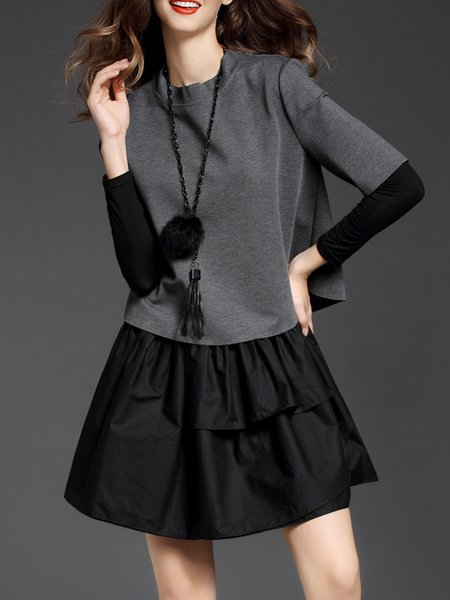Two Piece Long Sleeve Zipper Stand Collar Mini Dress