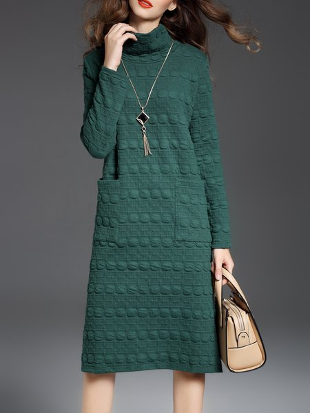 Turtleneck Long Sleeve Cotton-blend Slit Midi Dress