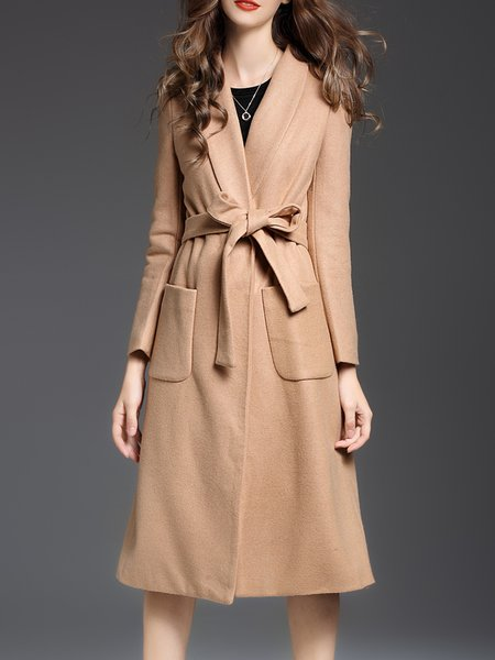 Camel H-line Elegant Pockets Solid Coat