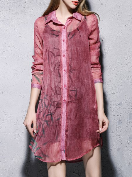 Printed Vintage Long Sleeve Two Piece Shirt Dress