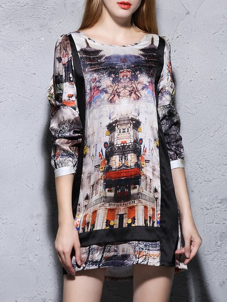 Multicolor H-line Printed Crew Neck Vintage Mini Dress