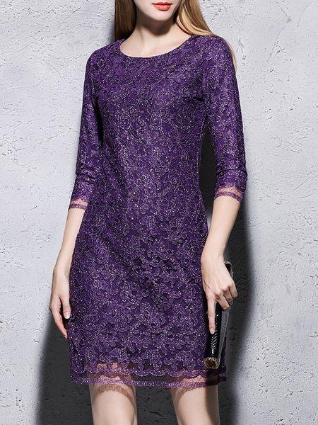 Purple Crocheted 3/4 Sleeve Mini Dress