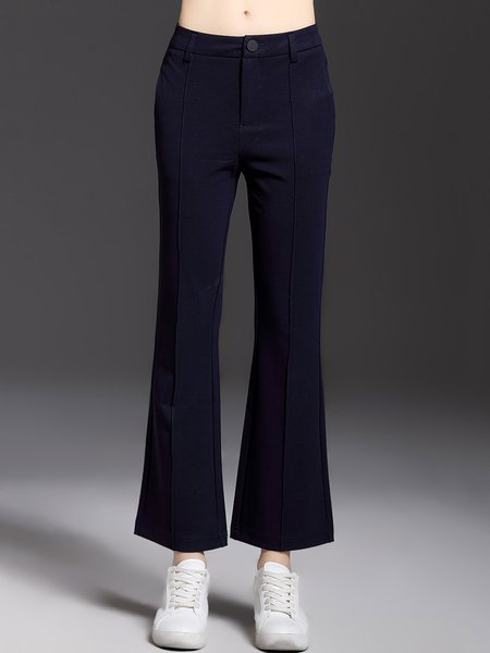 Dark Blue Solid H-line Simple Cotton-blend Straight Leg Pants