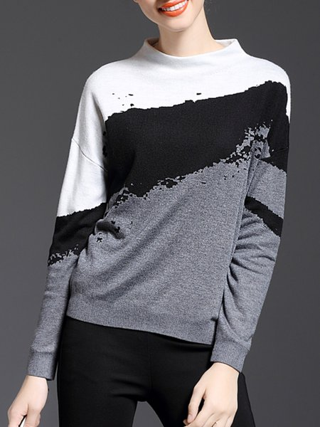 Gray Batwing H-line Stand Collar Sweater