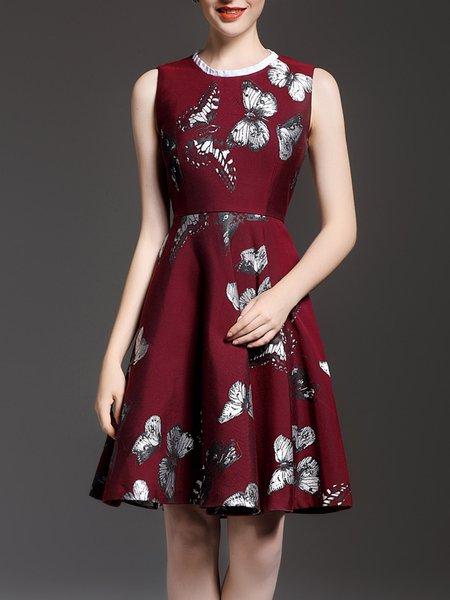 Burgundy Girly A-line Printed Midi Dress