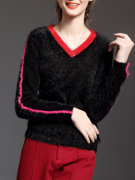 Black V Neck H-line Long Sleeve Sweater